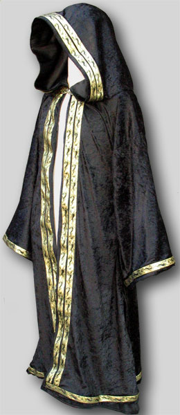 Pictured: Wizard Robe in velvet+double trim opening+trim sleeves+trim bottom+satin lined hood + satin lined sleeves + clasp