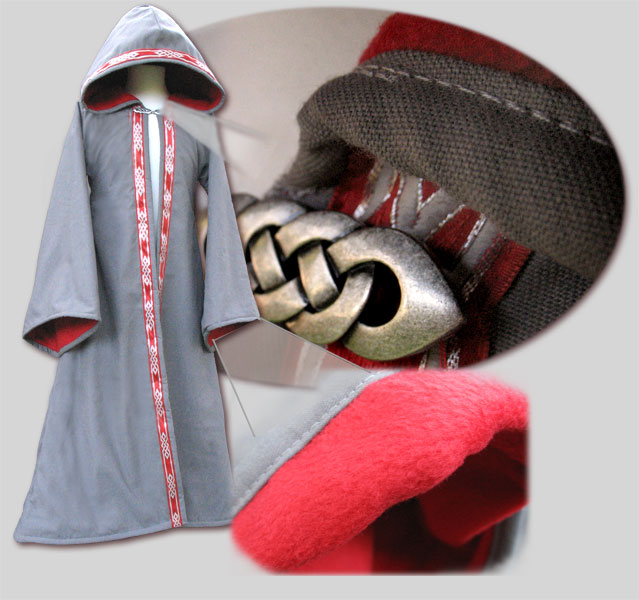 Pictured: Wizard Robe lined in fleece+trim opening + trim hood + clasp