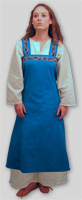 Pictured:Viking Apron dress with trim on top edge, straps, Underdress, Early period turnshoe